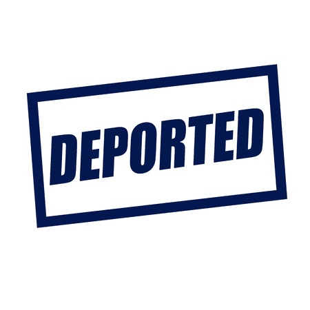deported: deported blueblack stamp text on white Stock Photo