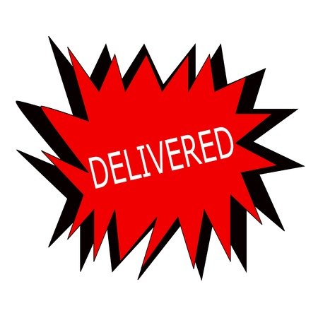 delivered: delivered white stamp text on red blast Stock Photo