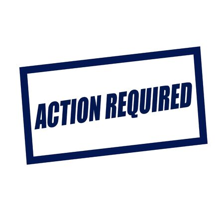 required: action required blueblack stamp text on white Stock Photo