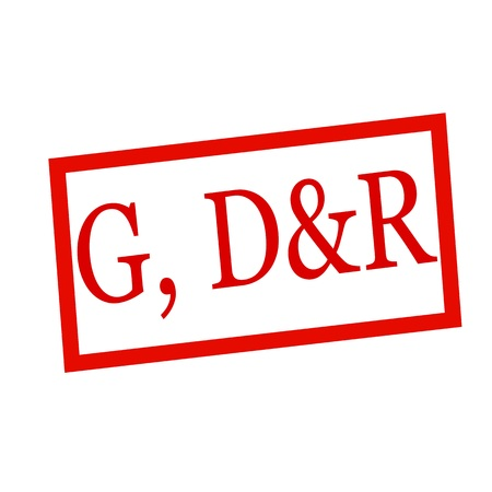 dr: G, d&r red stamp text on white