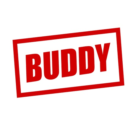 BUDDY red stamp text on white Stock Photo