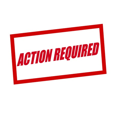 required: action ,required red stamp text on white Stock Photo