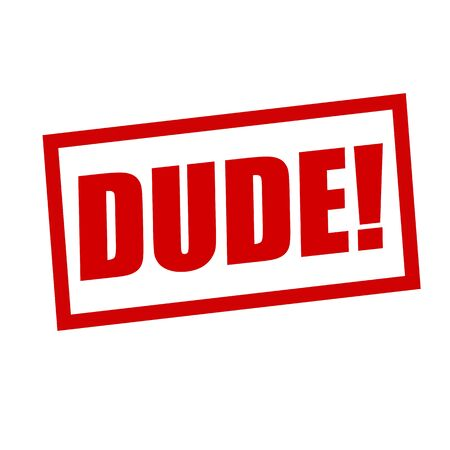 dude: dude red stamp text on white Stock Photo