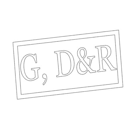 dr: G, d&r Monochrome stamp text on white