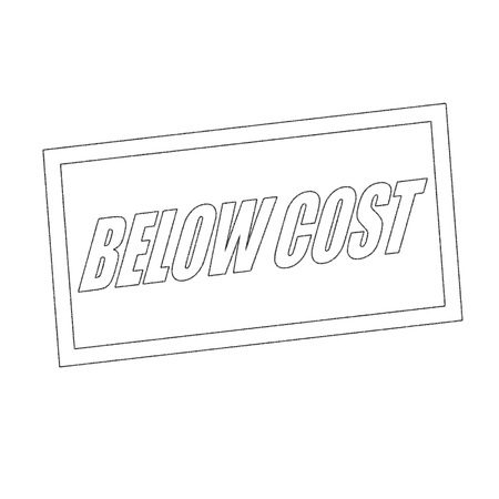 below: below cost Monochrome stamp text on white Stock Photo