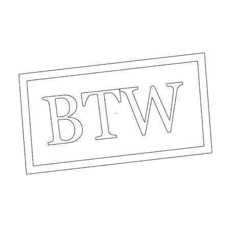 BTW Monochrome stempel tekst op wit