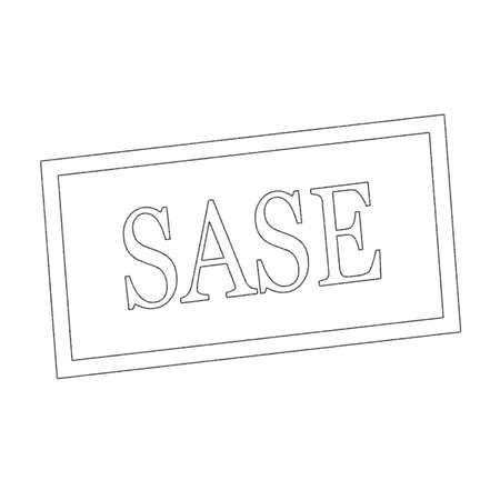 SASE Monochrome stamp text on white