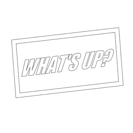what: what is up Monochrome stamp text on white Stock Photo