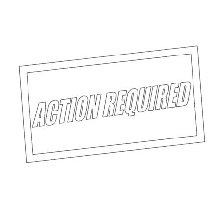 required: action required Monochrome stamp text on white Stock Photo