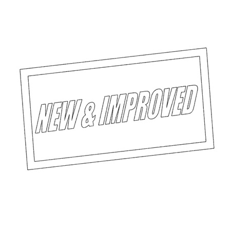 new and improved: new and improved Monochrome stamp text on white