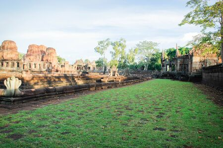 tam: Prasat Muang Tam 18 August 2015:Stone castle  Buriram Thailand Stock Photo