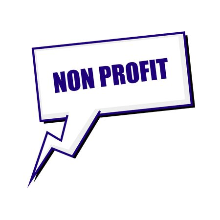 non stock: non profit blueblack stamp text on white Speech bubbles