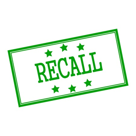 recall: Recall  green stamp text on background white and star