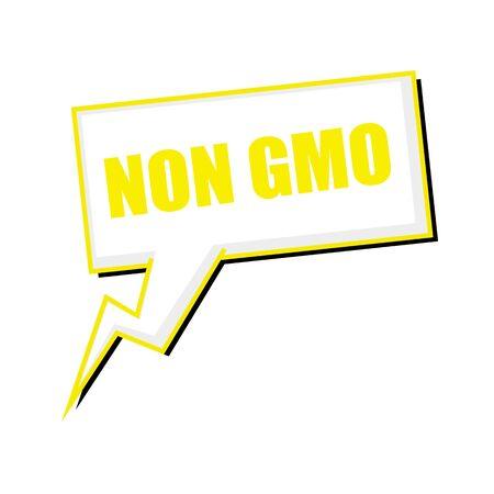 non: non GMO yellow stamp text on white Speech bubbles