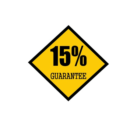 fifteen: fifteen percent guarantee black stamp text on yellow