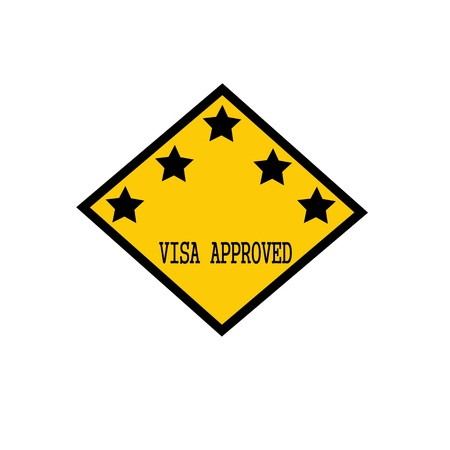 visa approved: visa approved black stamp text on background yellow and star Stock Photo