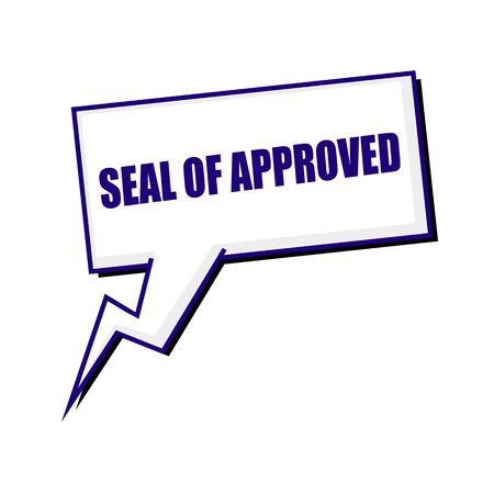 approval label: seal of approval blueblack stamp text on white Speech bubbles Stock Photo