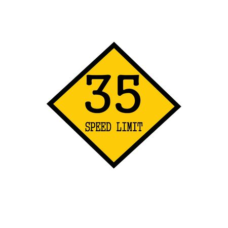 highway 3: Speed limit 35 black stamp text on background yellow Stock Photo