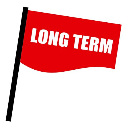 long term: Long Term white stamp text on red flag Stock Photo