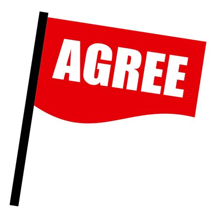 estar de acuerdo: De acuerdo sello texto blanco sobre la bandera roja Foto de archivo