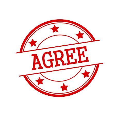 estar de acuerdo: De acuerdo texto del sello rojo en el círculo rojo sobre un fondo blanco y la estrella Foto de archivo