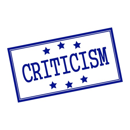 criticism: Criticism blue-black  stamp text on background white and star Stock Photo