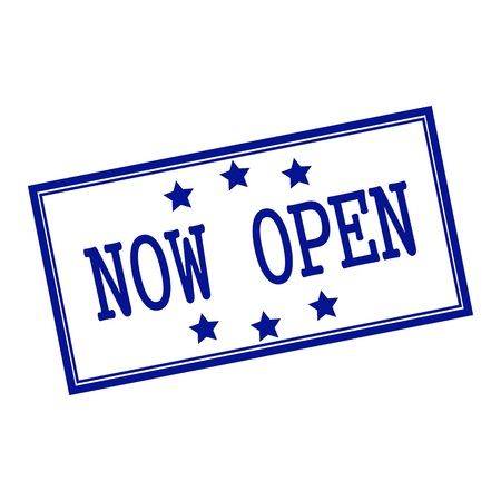 now open blue-black stamp text on background white and star