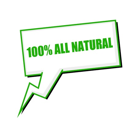 all in one: one hundred percent all natural green stamp text on white Speech bubbles Stock Photo
