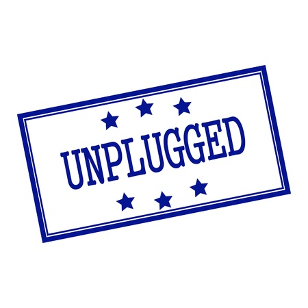 unplugged: Unplugged blue-black stamp text on background white and star