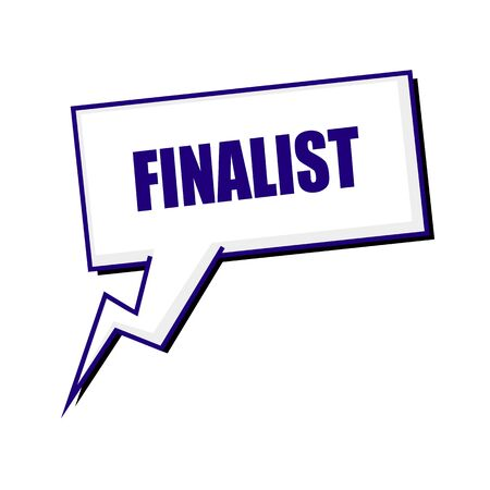 finalist: finalist blueblack stamp text on white Speech bubbles