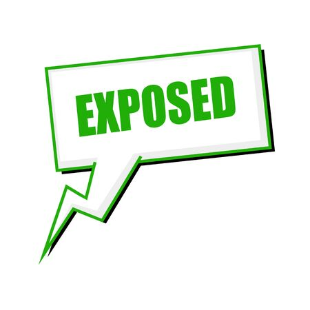 exposed: exposed green stamp text on white Speech bubbles
