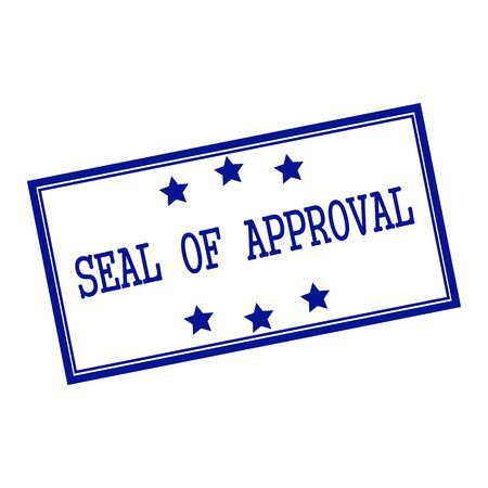 approval stamp: seal of approval blue-black  stamp text on background white and star Stock Photo