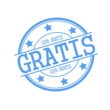 gratis: Gratis blue stamp text on blue circle on a white background and star