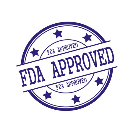 fda: FDA Approved Blue-Black stamp text on Blue-Black circle on a white background and star