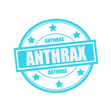 anthrax: ANTHRAX white stamp text on circle on blue background and star