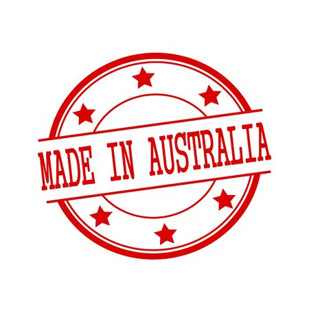 australia stamp: Made in Australia red stamp text on red circle on a white background and star Stock Photo