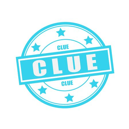 clue: Clue white stamp text on circle on blue background and star