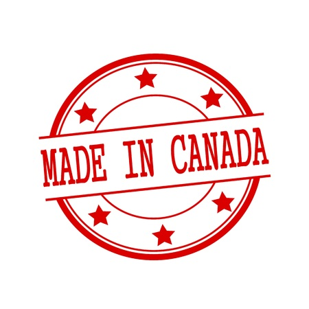 canada stamp: Made in Canada red stamp text on red circle on a white background and star