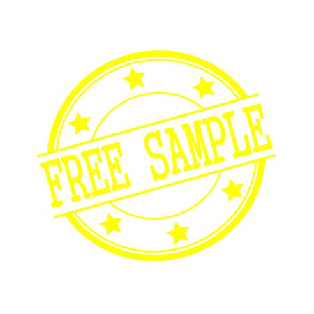 free sample: Free sample yellow stamp text on yellow circle on a white background and star