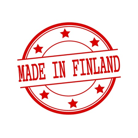 made in finland: Made in Finland red stamp text on red circle on a white background and star Stock Photo