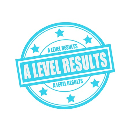 a level: A LEVEL RESULTS white stamp text on circle on blue background and star Stock Photo