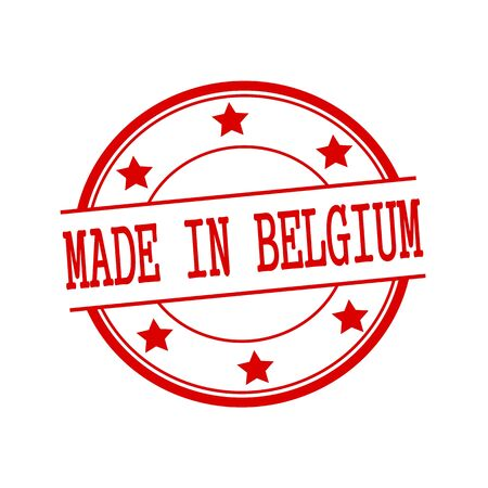 made in belgium: Made in Belgium red stamp text on red circle on a white background and star