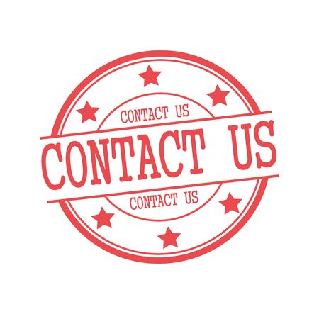 contact us: Contact us red stamp text on red circle on a white background and star Stock Photo