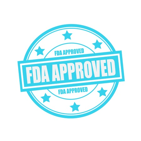 fda: FDA Approved white stamp text on circle on blue background and star