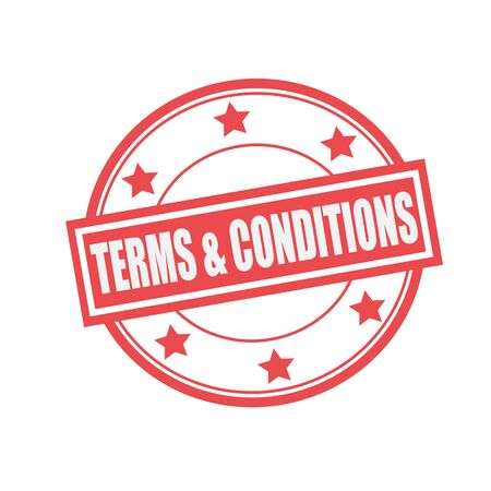 Terms and conditions white stamp text on circle on red background and star Stock Photo