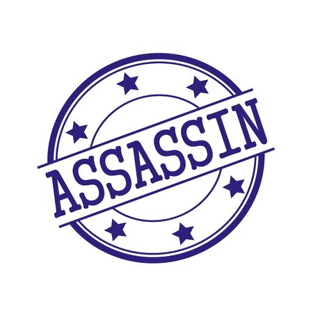 assassin: ASSASSIN Blue-Black stamp text on Blue-Black circle on a white background and star Stock Photo