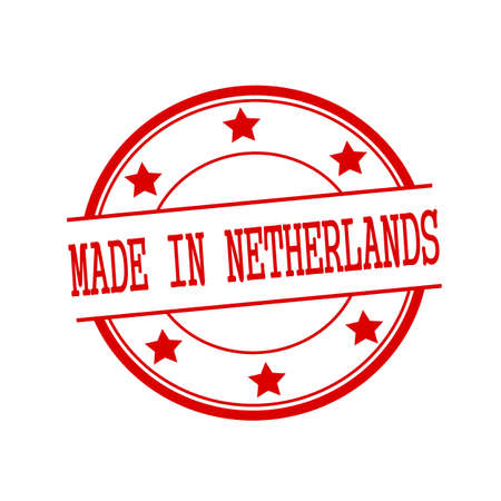 made in netherlands: Made in Netherlands red stamp text on red circle on a white background and star
