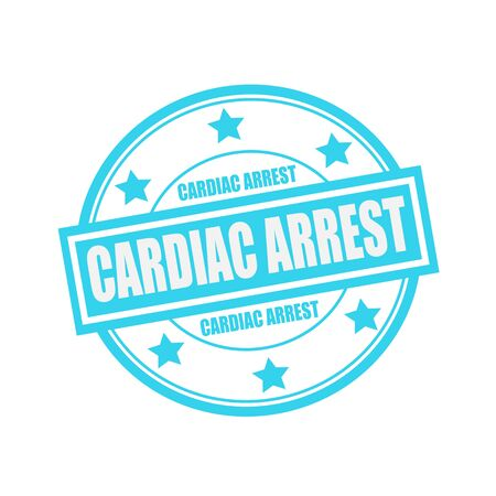 Cardiac Arrest: CARDIAC ARREST white stamp text on circle on blue background and star Stock Photo