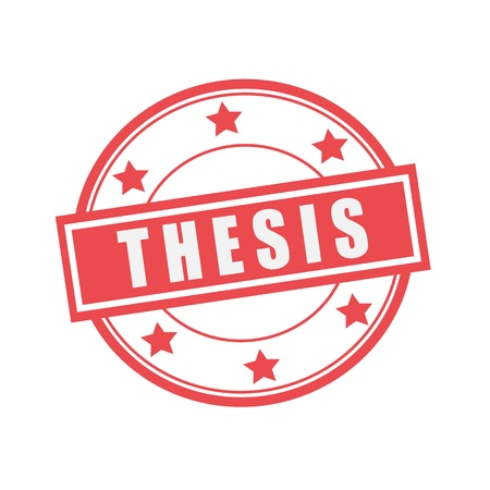 thesis: thesis white stamp text on circle on red background and star Stock Photo