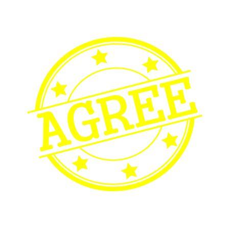 coincidir: De acuerdo texto del sello amarillo en c�rculo amarillo sobre un fondo blanco y la estrella